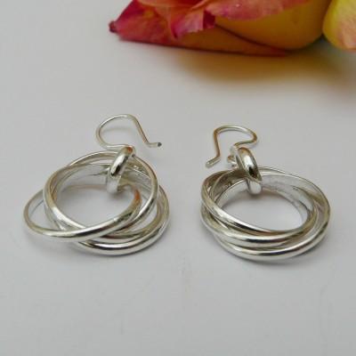 Boucles d'oreilles argent quatre anneaux