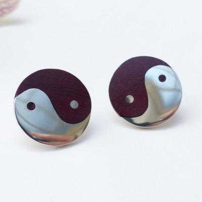 Boucles d'oreilles argent et bois acajou ying yang