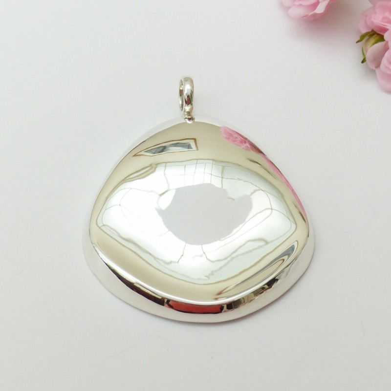 Pendentif argent grand ovale miroir