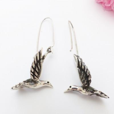 Boucles d'oreilles en argent noirci bel oiseau