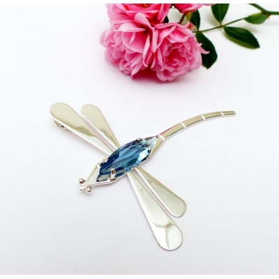 Pendentif argent et cristal bleu libellule