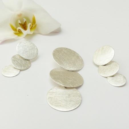 Parure argent brossé trois ronds dégressifs