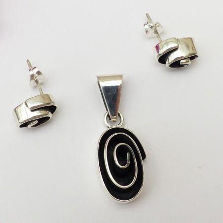 Parure argent ovale spiralé en relief