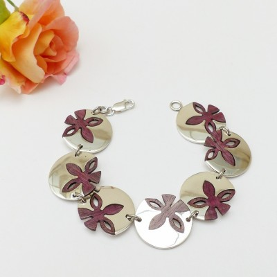 Bracelet argent et bois d'acajou sept fleurs rondes