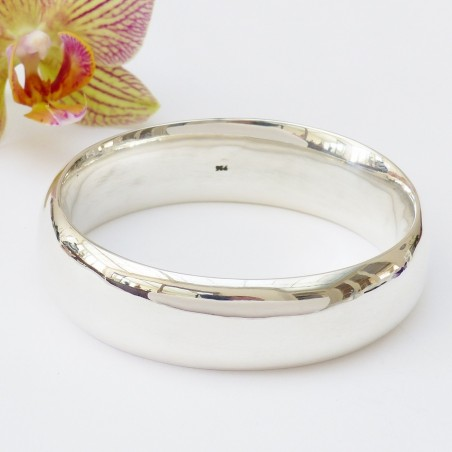 Bracelet en argent lisse jonc ovale et large