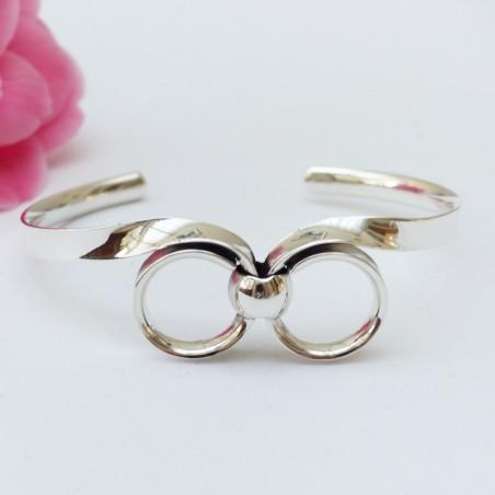 Bracelet en argent deux boucles reliées