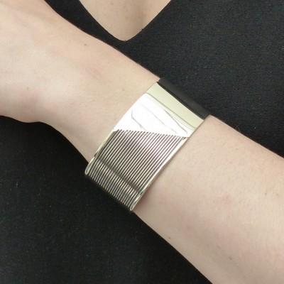 Bracelet argent lisse et oxydé ligné