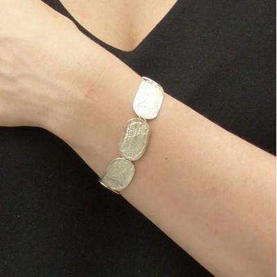 Bracelet argent fripé cinq rectangles articulés