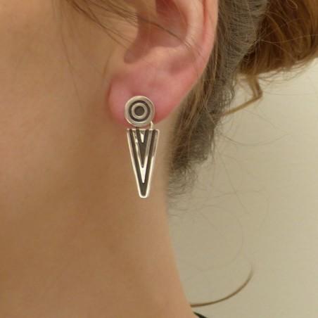 Boucles d'oreilles en argent lisse et oxydé triangle et cercle