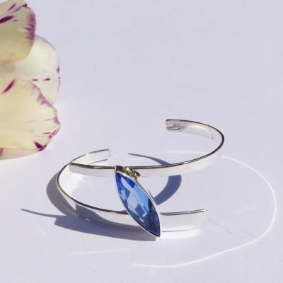 Bracelet en argent et cristal bleu azur