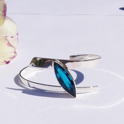 Bracelet en argent et cristal bleu bleu turquoise