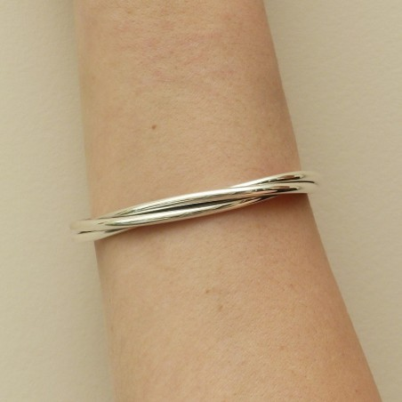 Bracelet en argent trois tiges rondes entrecroisées