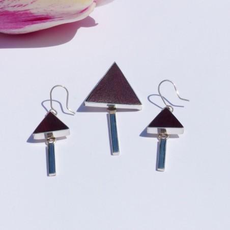 Parure en argent et en acajou beau triangle