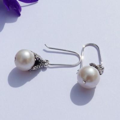 Boucles d'oreilles en argent étoile de mer petite perle blanche