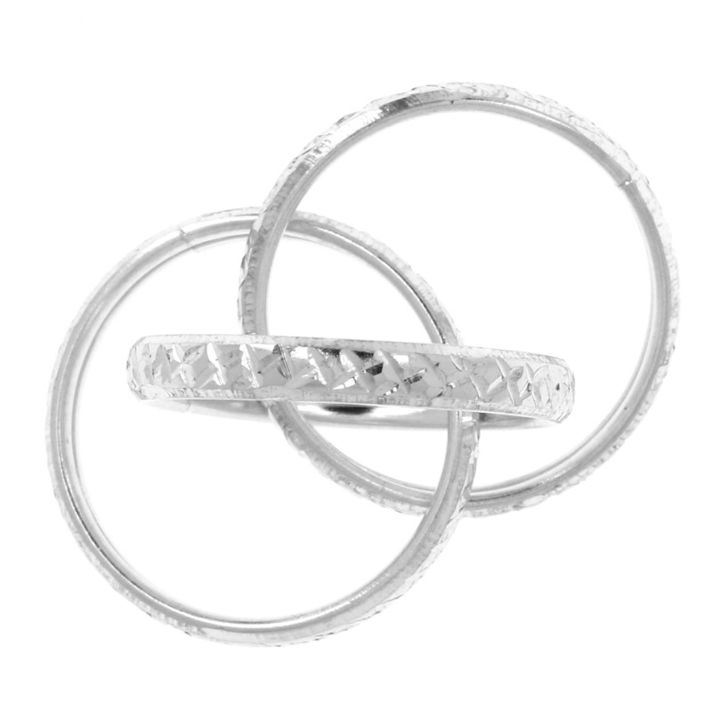 bague en argent trois anneaux grav s croisillons. Black Bedroom Furniture Sets. Home Design Ideas