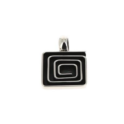 Pendentif carré oxydé noir...