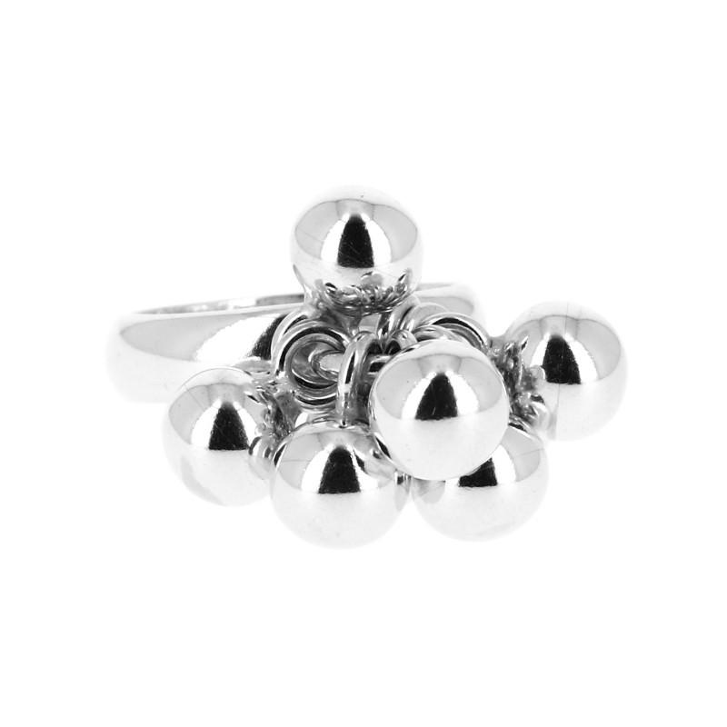 60364640783 Bague en argent lisse formé d un anneau fermé où sont accrochées par un  anneau huit jolies boules avec leurs anneaux
